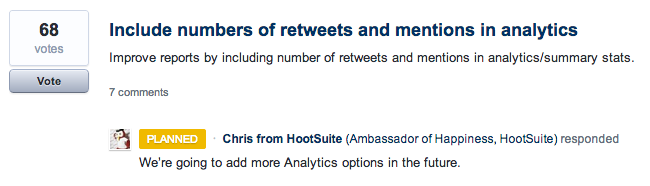 HootSuite collects feedback using UserVoice