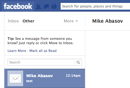 Sending Emails to Other Inbox on Facebook